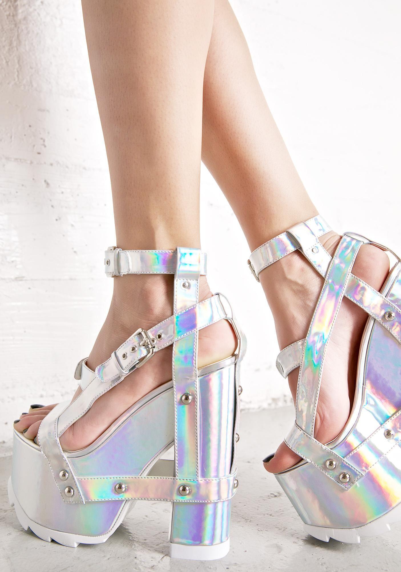 fb348685497 Holographic Nightcall Platform Heels in 2019 | 2 shoes | Heels ...