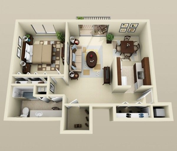 50 Plans en 3D du0027appartement avec 1 chambres Tiny houses, Small - plan de maison d gratuit