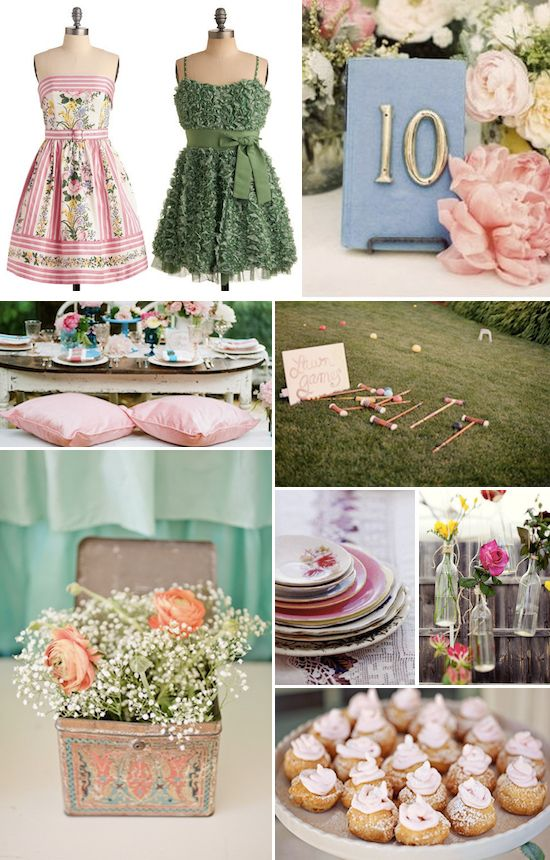 Love this soft green/pink colour scheme