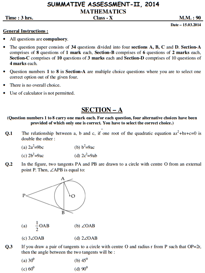 Cbse Sample Papers For Class 10 Sa2 Maths 2014 Set C Sample