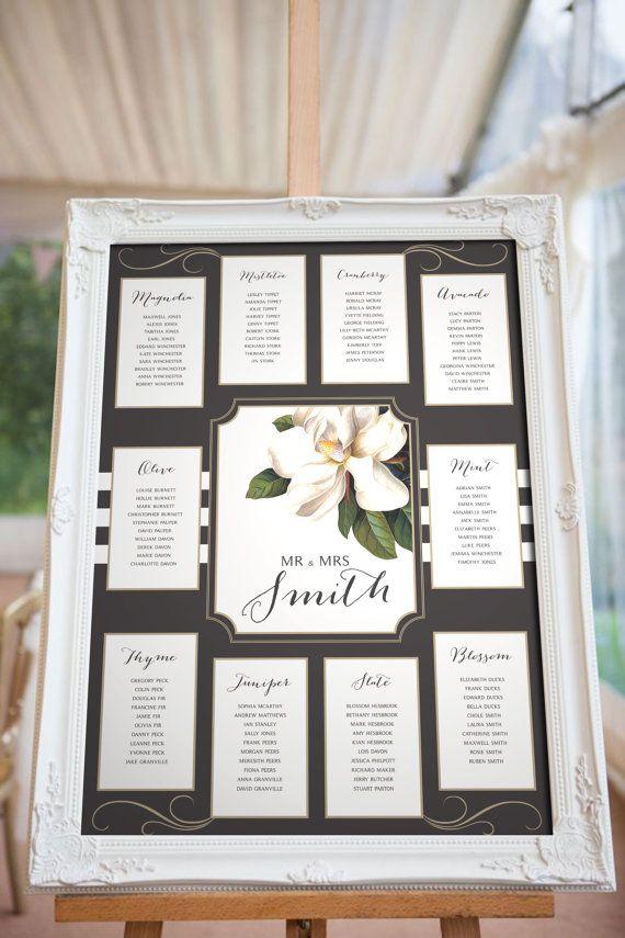 Magnolia Blush Wedding Seating chart, Black White and Pink - printable seating charts
