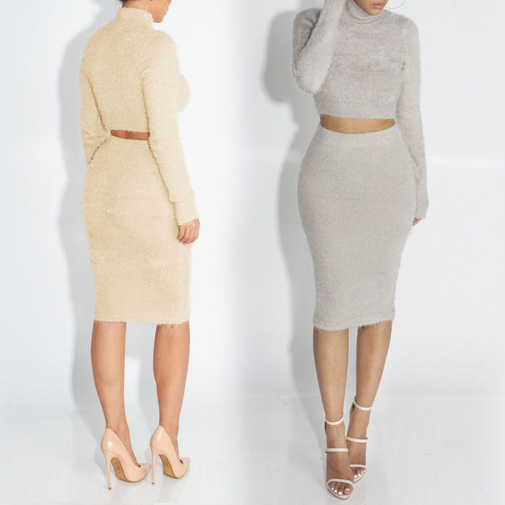 Womens ladies high neck long sleeve pullover topsbodycon mini skirt