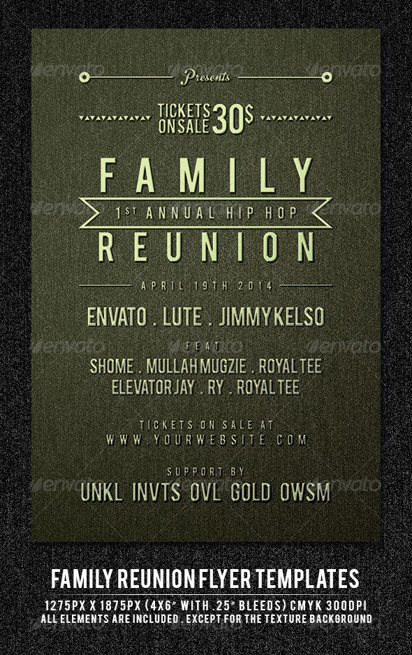 Family Reunion Flyer Template Family reunions, Flyer template - class reunion invitations templates