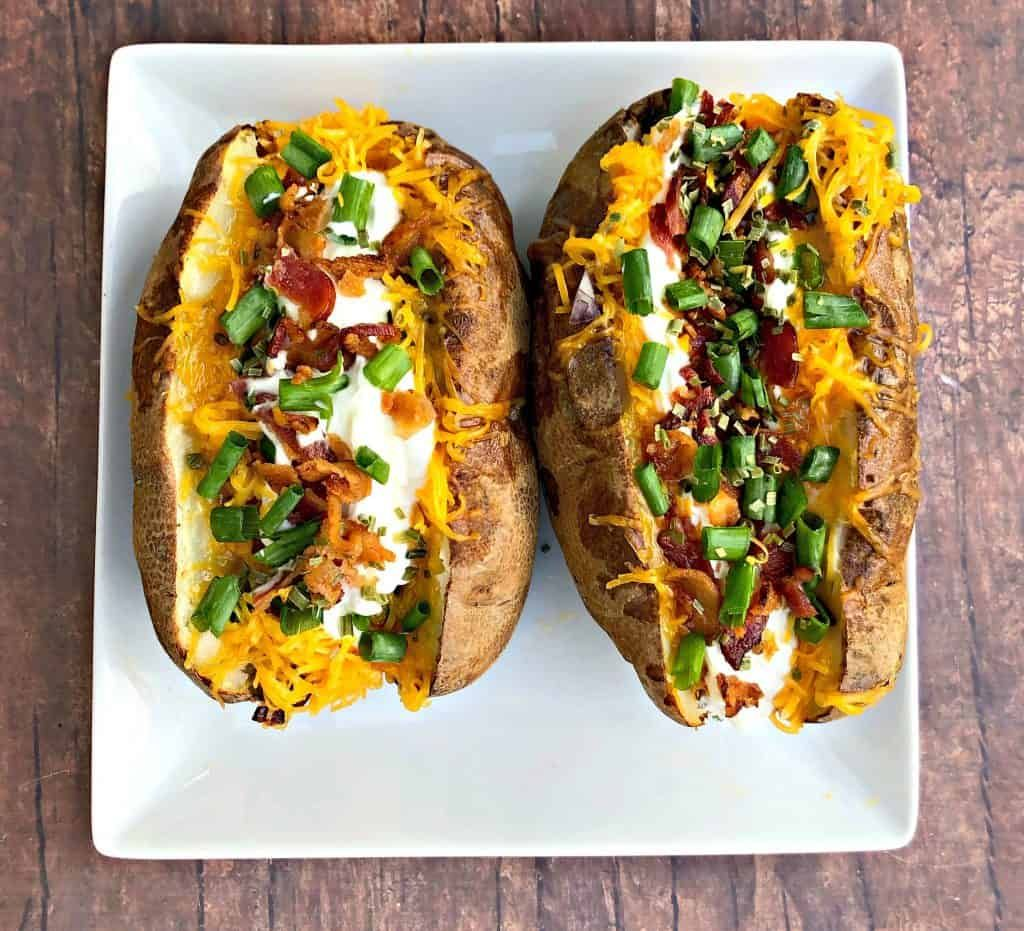 Easy, Air Fryer Loaded Stuffed Baked Potatoes is a quick