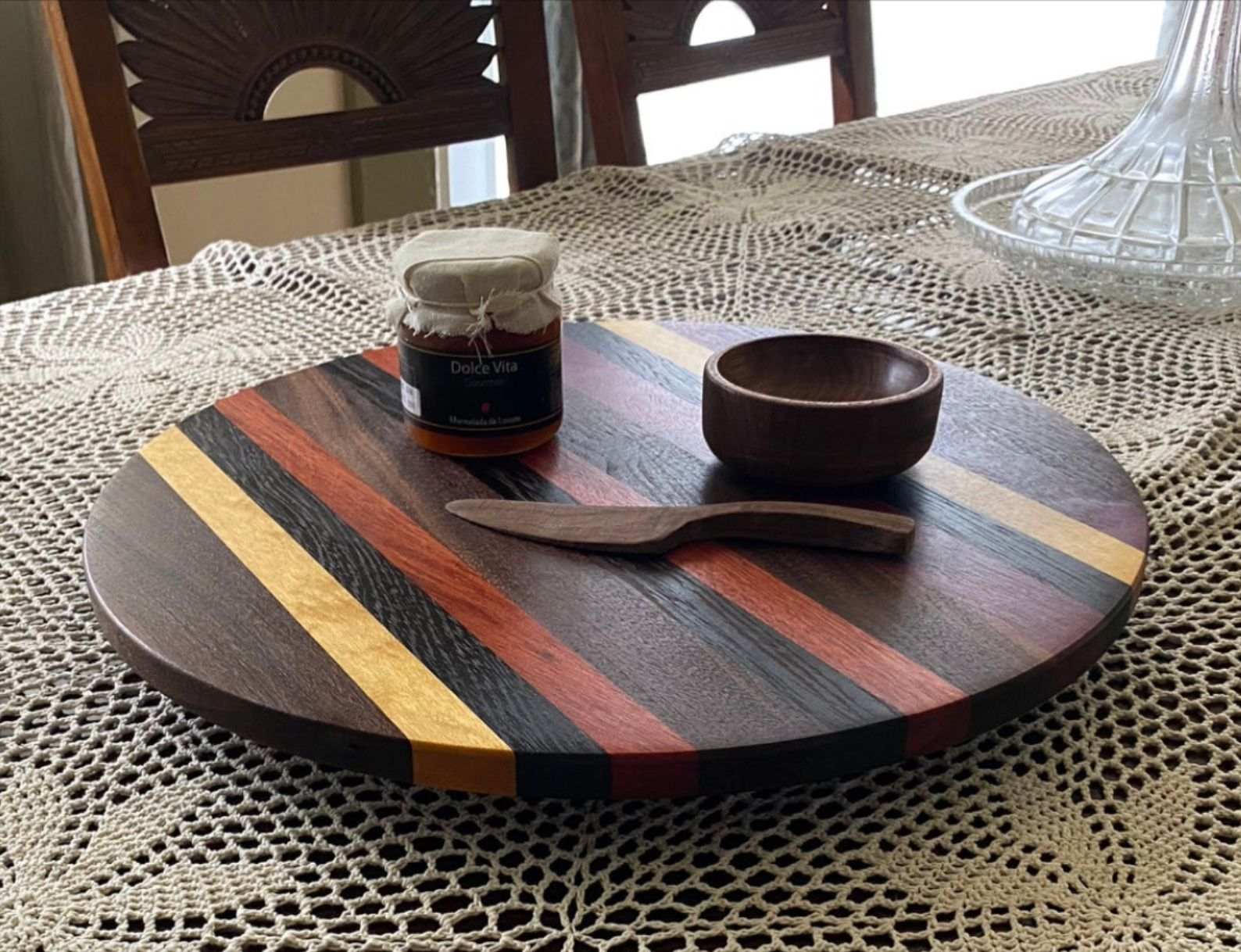 Lazy Susan Turntable Rotating Serving Board Lazy Susan Serving Board Handcrafted Wood