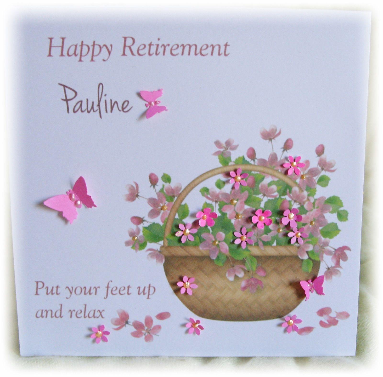 gbp personalised handmade retirement card female any name
