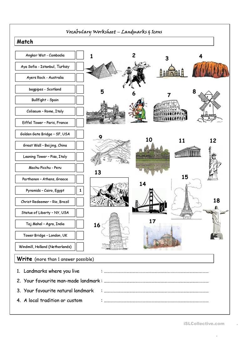 Vocabulary Matching Worksheet Landmarks Icons Worksheet Free Esl Printable Worksheets Mad Teaching Geography Social Studies Worksheets History Worksheets