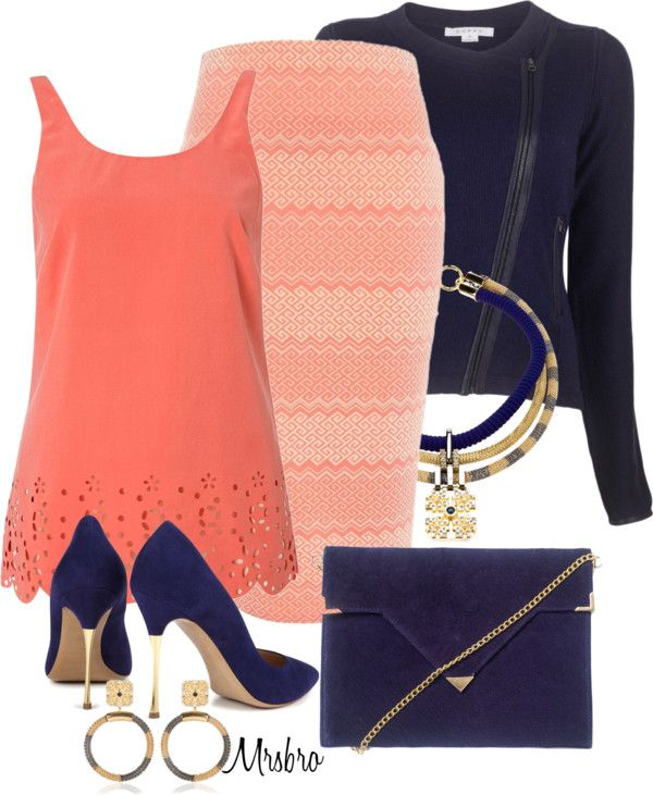 """Coral with a Clutch 2"" by mrsbro on Polyvore"