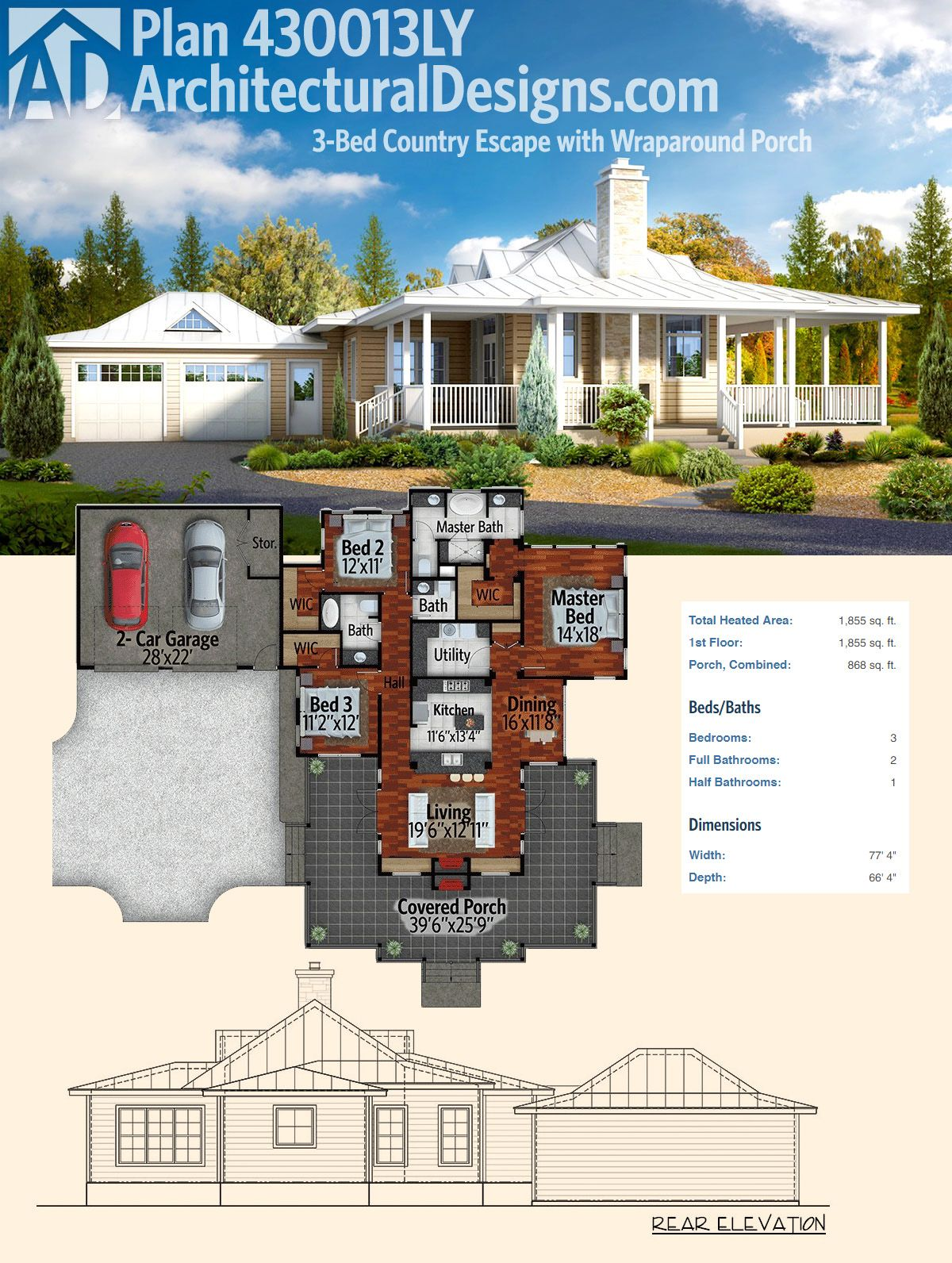 Plan ly bedroom country escape with wraparound porch
