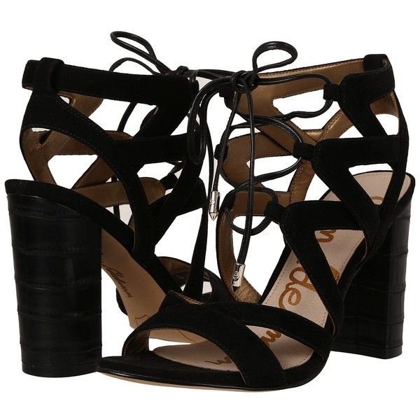 Sam Edelman Yardley (Black Kid Suede Leather) High Heels ($130) ❤ liked on Polyvore featuring shoes, sandals, black high heel sandals, lace up sandals, sam edelman sandals, black sandals and black caged sandals
