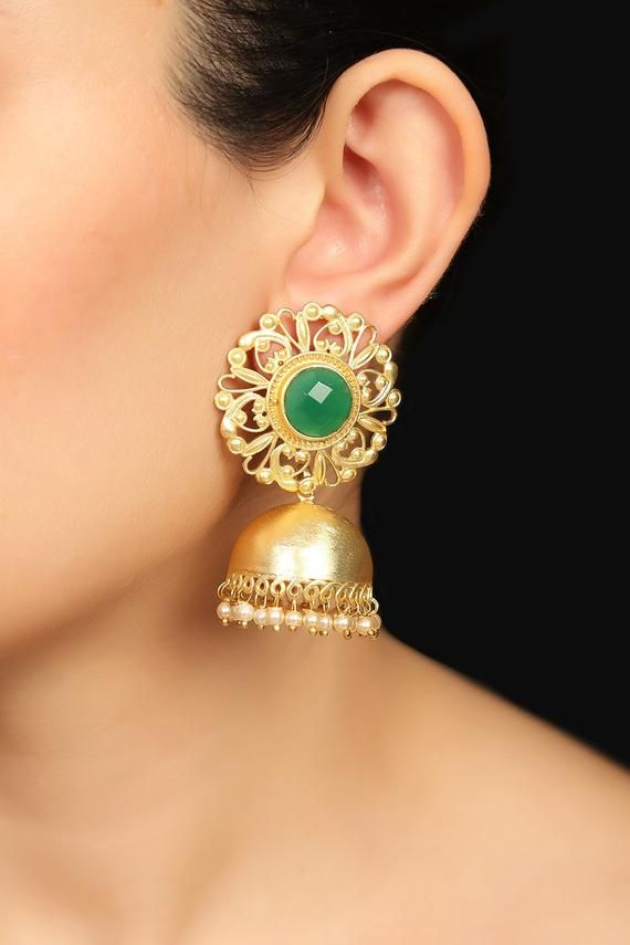 badc22e43 Golden Indian studs Jhumka green onyx stone Gold Plated Brass jhumka  Earrings gift for her Vintage i