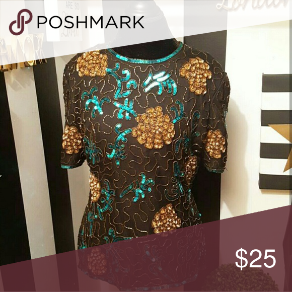 Sequin Flowers Top Elegant Sequin Top with Flower pattern, Heavy, great quality Tops Blouses