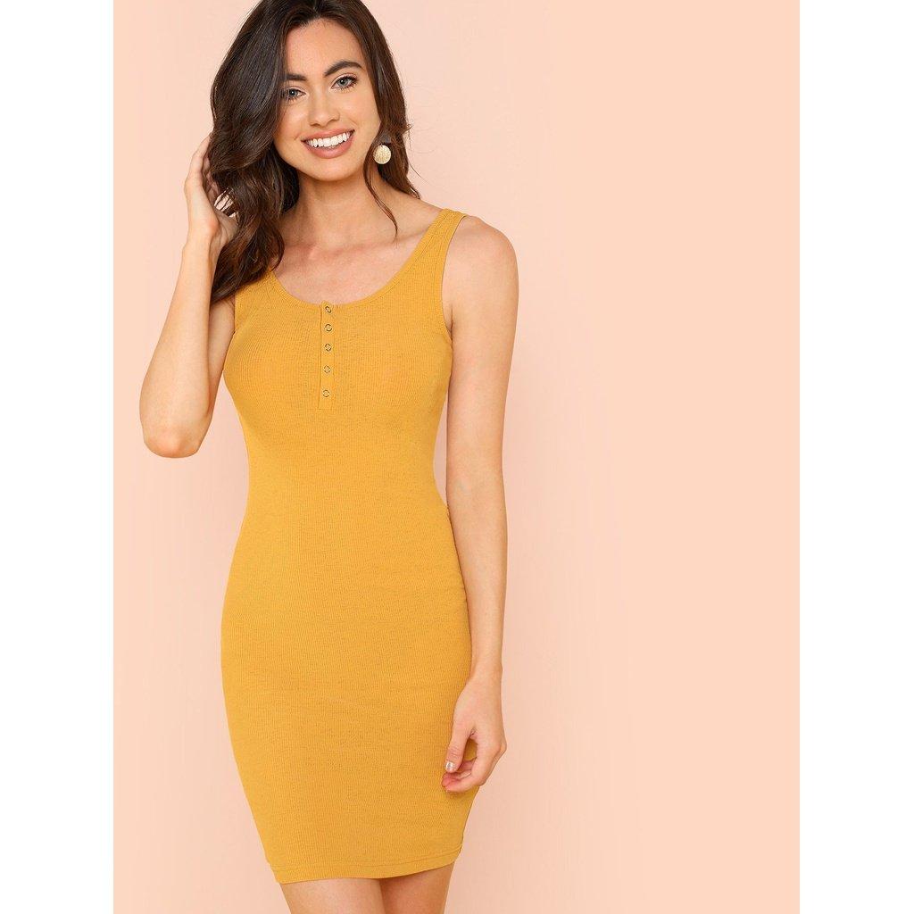 Yellow dress for women  Button Front Rib Knit Dress  Women Men Apparel Fitness Outfit