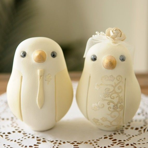 Custom Wedding Cake Topper - Large Hand Painted Love Birds with ...