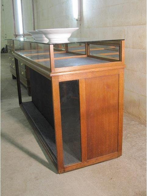 Antieke oude industriele toonbank vitrine for Kapsalon interieur te koop