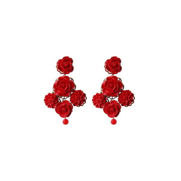 Red Rose and Flower Drop Earrings 5020 PHP via Polyvore featuring