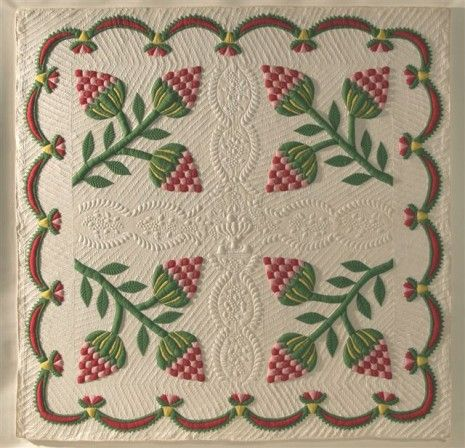 Strawberry Quilt with trapunto, c 1848, Susquehana County, PA, 86 1/2 x 85 inches.