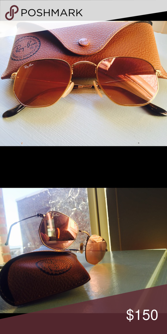 067c075b14b Rayban Hexagonal Flat Sunglasses Rayban Hexagonal Flat Sunglasses with  copper flash lenses in a gold frame. Worn once! Ray-Ban Accessories  Sunglasses