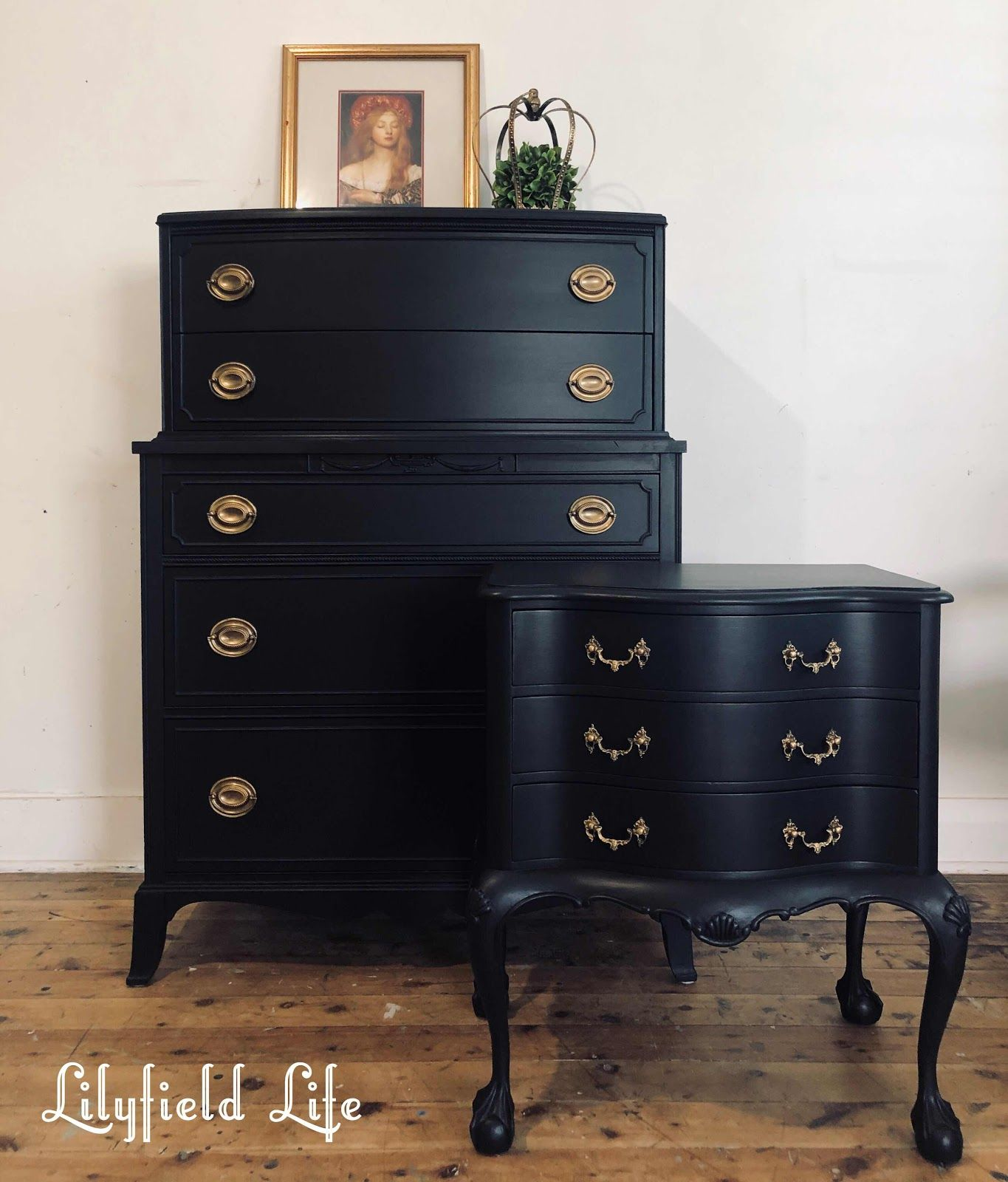 Lots Of Black Painted Furniture In 2020 Black Painted Furniture Black Chalk Paint Furniture Paint Dresser Diy