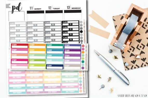 Class, Study or Due Today Stickers - School/Uni Stickers - Planner