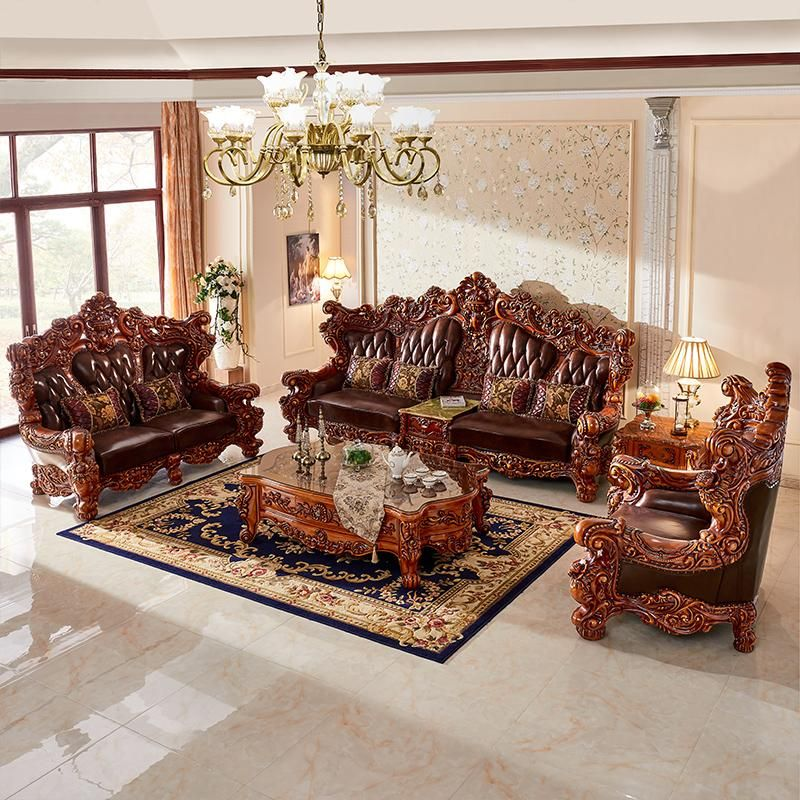 Modern Luxury Solid Wood And Leather Sofa Living Room Set Mebel