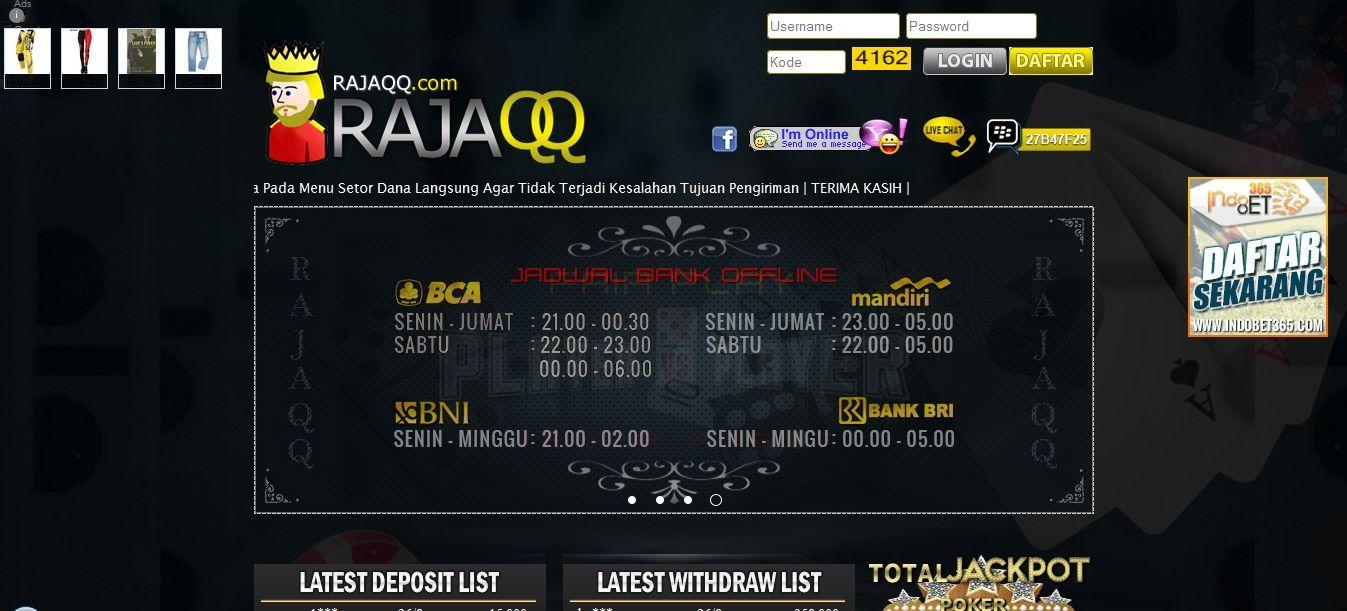 RAJAQQ merupakan Agen Poker Online, DominoQQ terpercaya. Dengan Uang Asli Indonesia, Minimal deposit RAJAQQ Rp.15.000,- Daftar Sekarang juga di RAJAQQ.