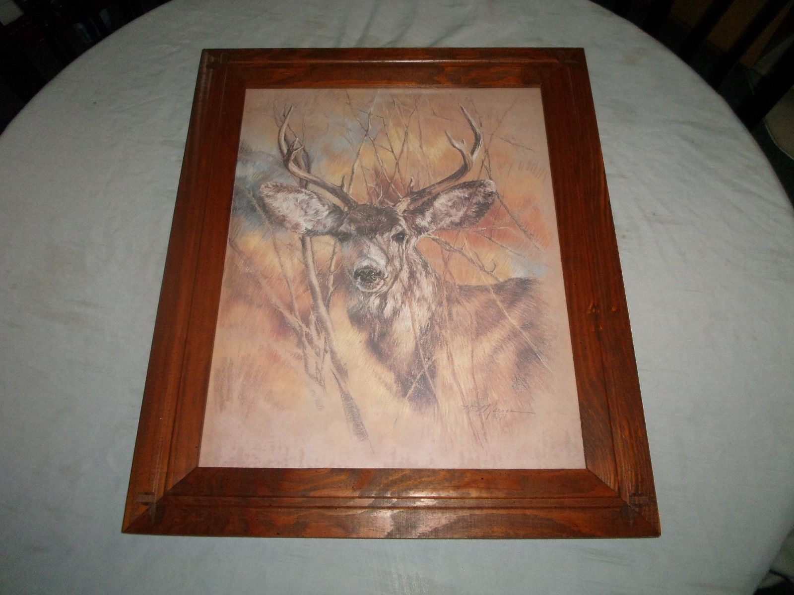 vintage home interior framed picture buck deer buck deer home interior deer pictures shop collectibles online daily