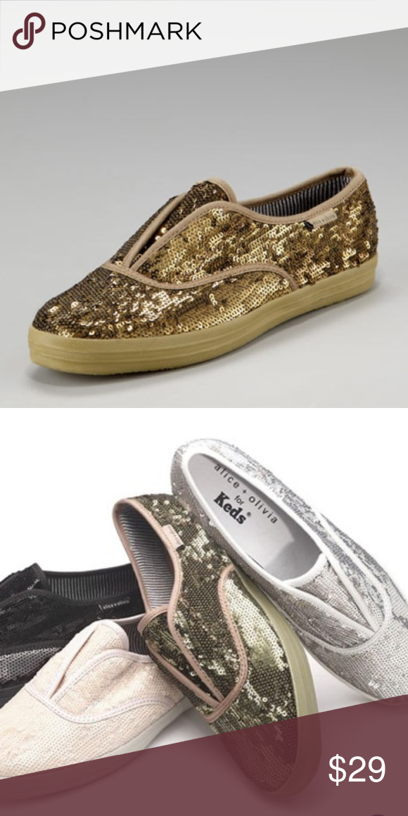 7345202526b1 Alice + Olivia for Keds Olive Green Sequin Sneaker Keds by Alice + Olivia  -LIMITED EDITION Olive sequins Size 6.5 Preloved but not missing any  sequins and ...