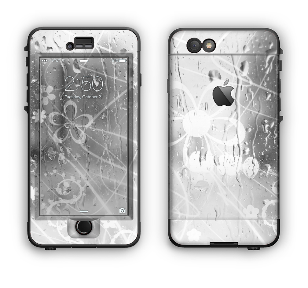The Watered Floral Glass Apple iPhone 6 LifeProof Nuud Case Skin Set