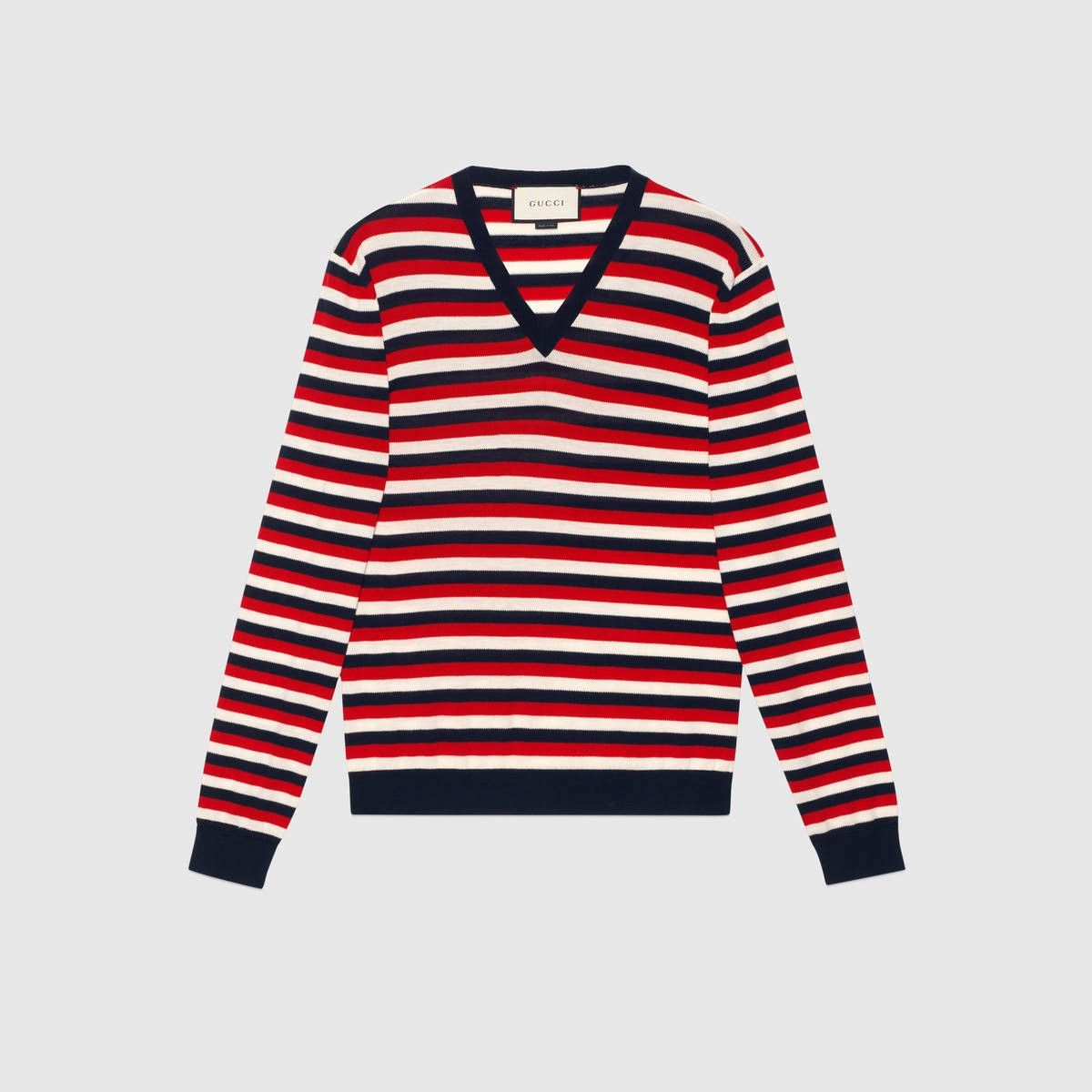 GUCCI Striped wool V-neck sweater - blue, red and white wool ...