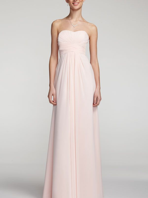 52bba1621a71 Long Strapless Chiffon Dress with Pleated Bodice I Style #F15555 @David's  Bridal