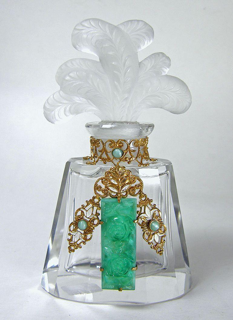 Czech Jeweled Figural Stopper Perfume Bottle  Hoffman