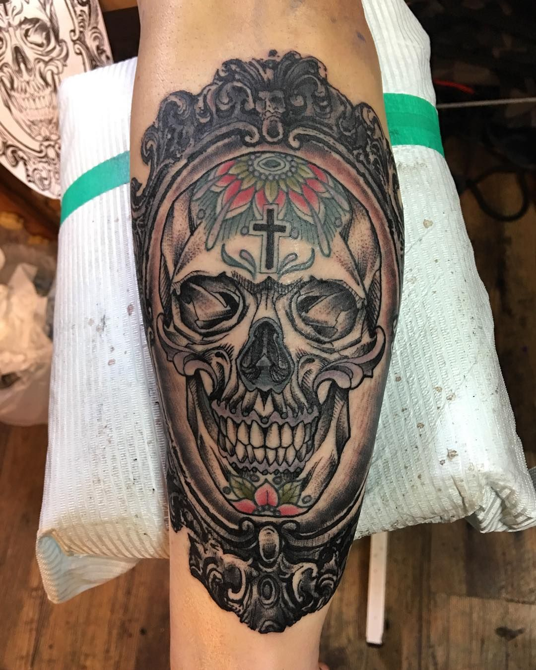 more traditional mexican tattoo with realistic looking