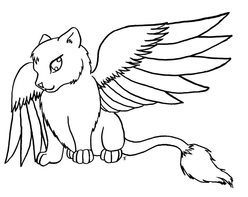 Cat With Wings Art Coloring Page Animal Coloring Pages Cat Coloring Page Dog Coloring Page
