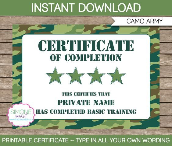 Army Party Printables, Invitations \ Decorations u2013 camo Army - army certificate of training template