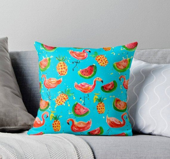 Flamingo Pillow Pineapples Pillow Turquoise Cushion Lilly Pulitzer