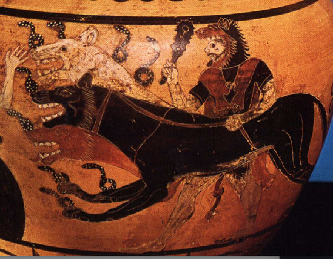 Clay vase from Cervetri (Caere) feat  Cerberus from 530 BC