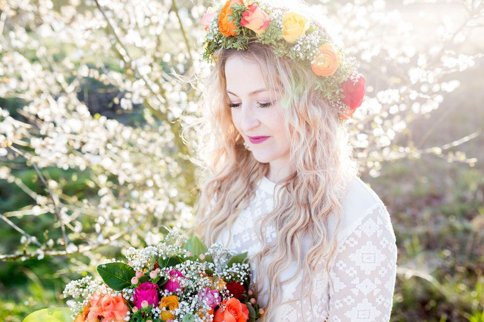 Hippie Wedding Hochzeit Samtweissundbling Blumenkranz H