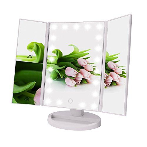 Weily Tri Fold Lighted Makeup Vanity Mirror With 21 Led Lights