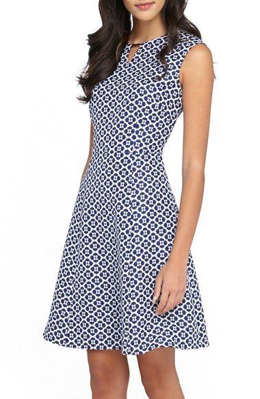 Tahari Embellished Neck Jacquard Fit Amp Flare Dress