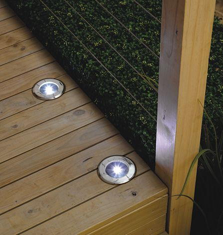 solar lights for the deck use along steps or step down to