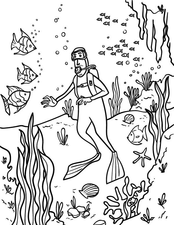 Printable Scuba Diver Coloring Page Download It At Https Museprintables Com Download Colo Coloring Pages Coloring Pages Inspirational Cartoon Coloring Pages