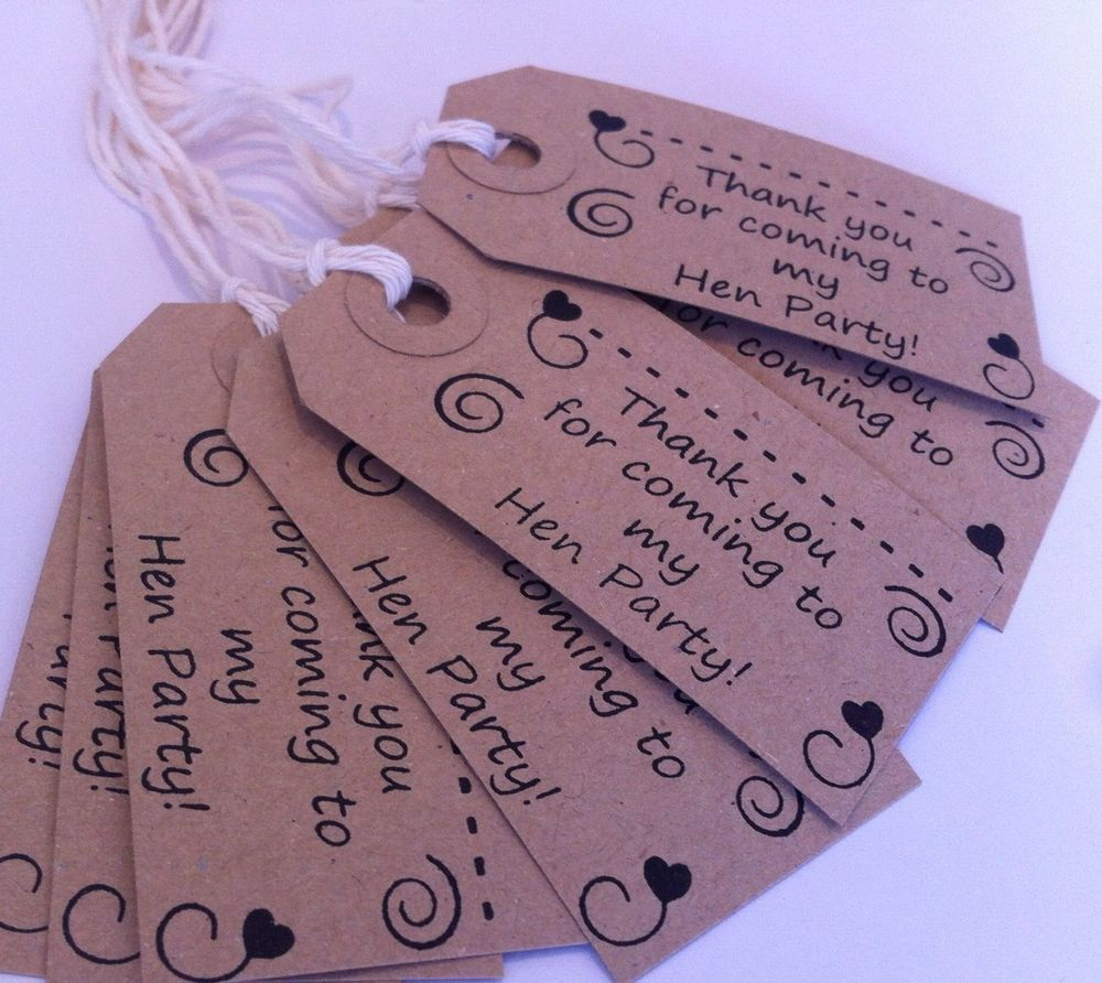 Hen Do Thank You For Coming Table Favours Or Party Gift Bag Name Tags X25
