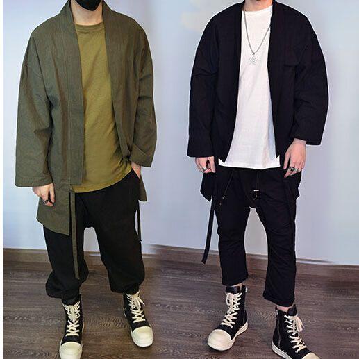 3 couleurs noir armée vert et gris hommes surdimensionné Kimono ...