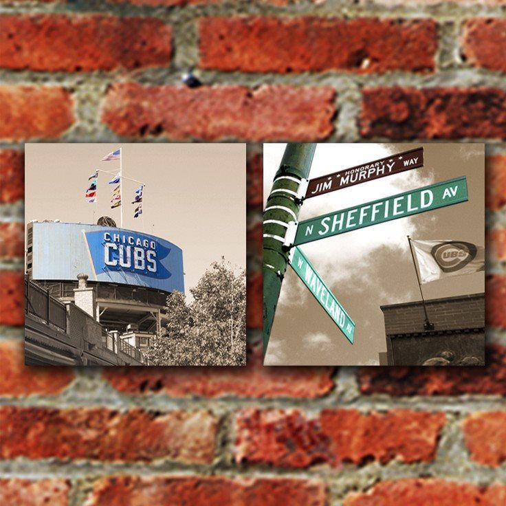 Chicago Cubs Wrigley Field Canvas   Set Of 2