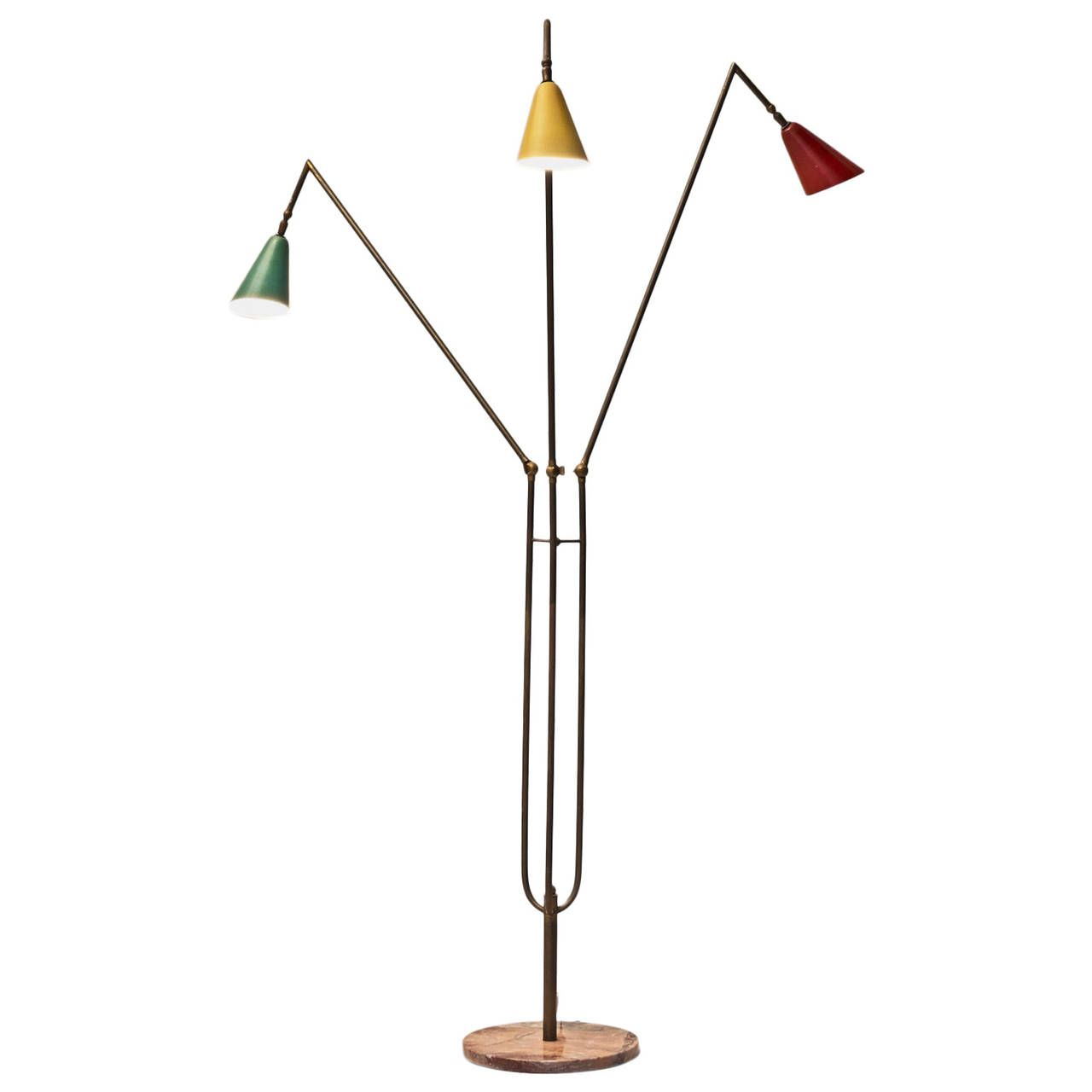 Italian Floor Lamp with Colored Shades 1