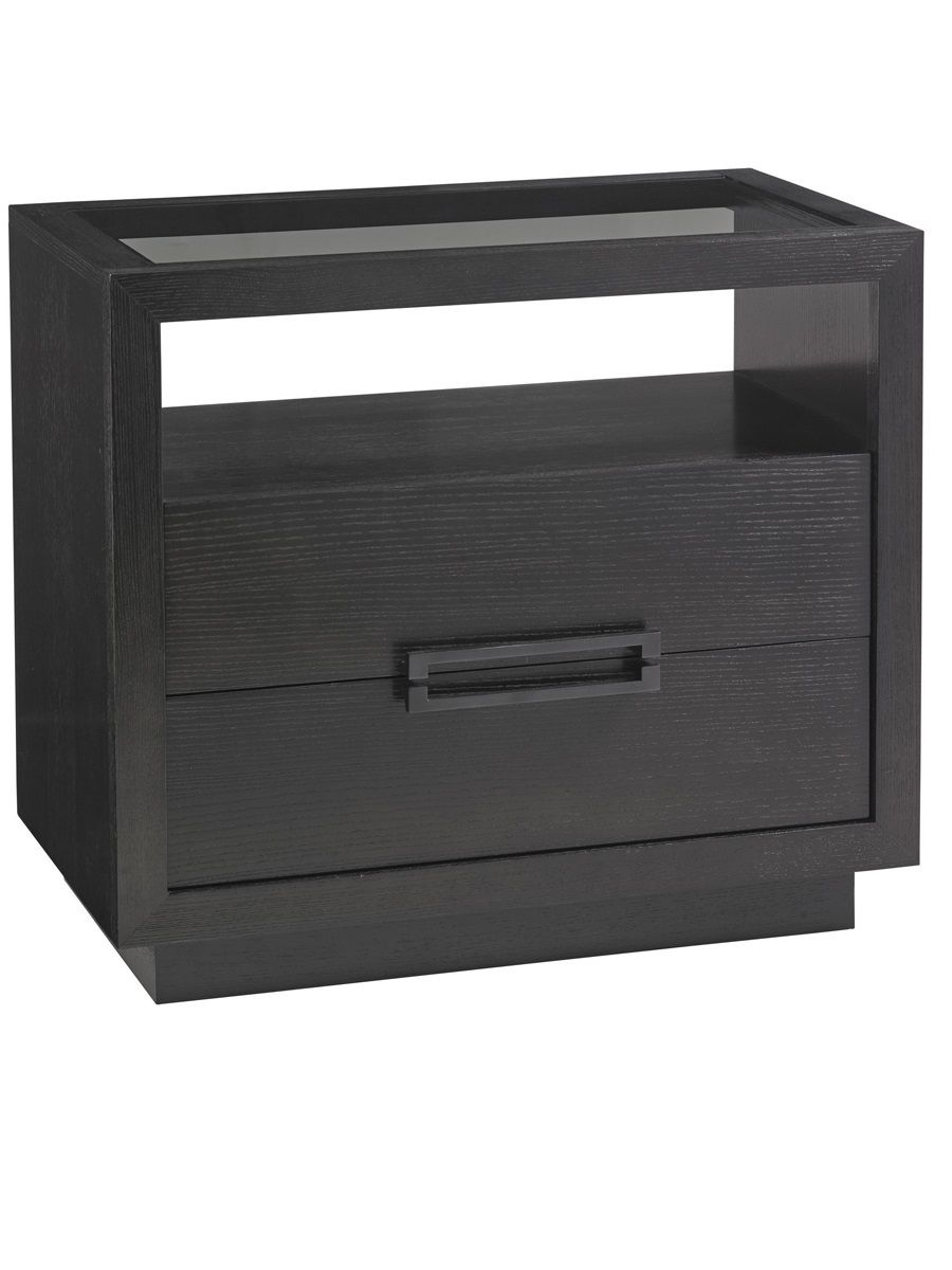 Grey contemporary nightstand an amazing furniture piece with glass top and two drawers www bocadolobo com bedroomdecor