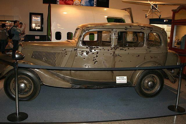 Bonnie And Clyde Car On Display At A Museum In Nevada
