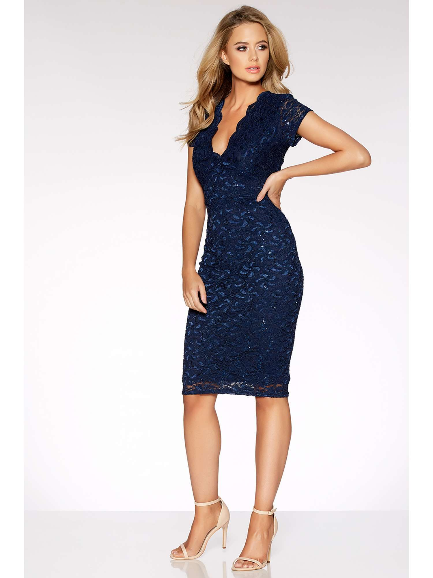 4de4072759bb £36 --- House of Fraser - Quiz Navy Sequin Lace Cap Sleeve Midi Dress in  Navy -- Perfect cruise attire!