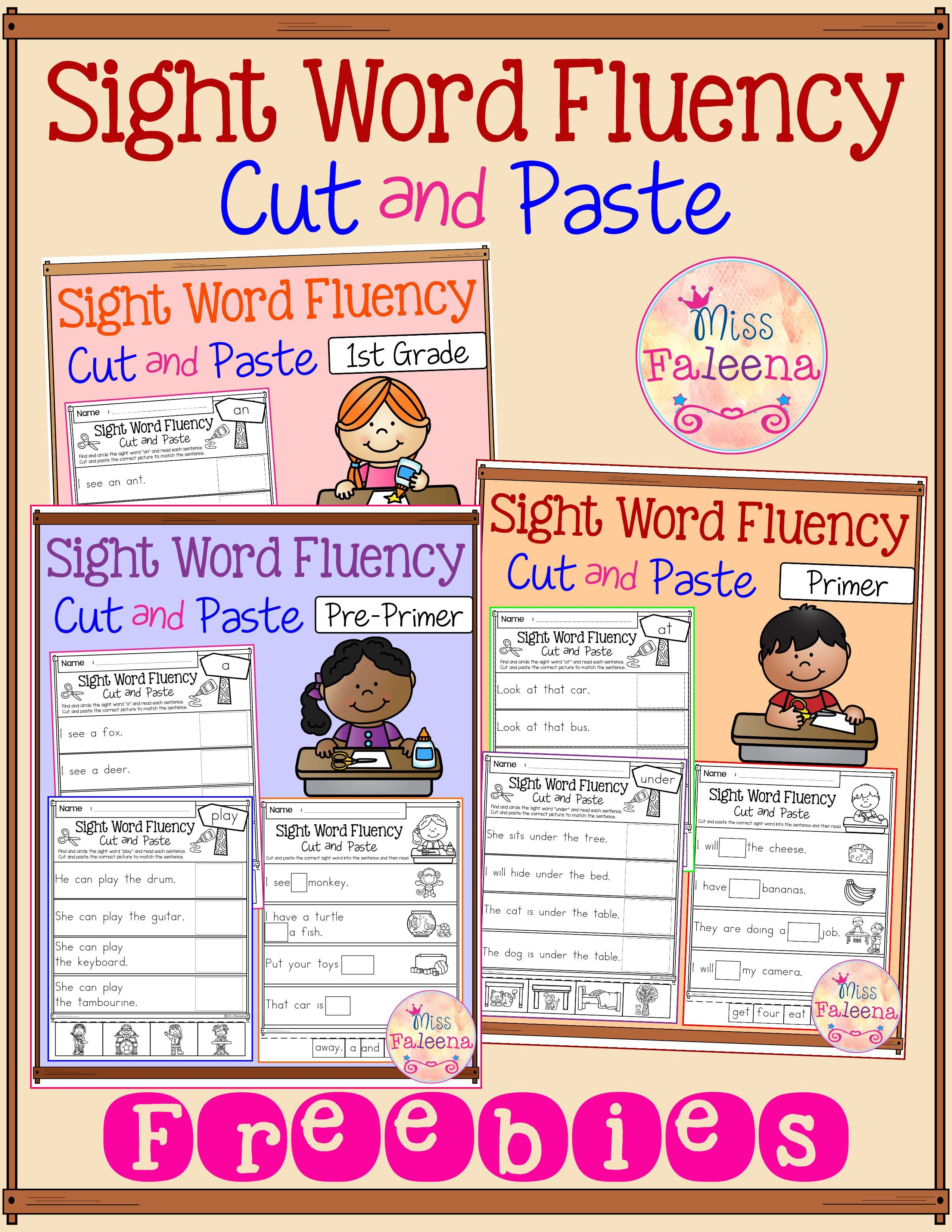 Free Sight Word Fluency Cut And Paste